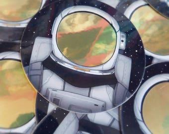 Voyager - Metallic Gold Astronaut Sticker