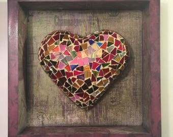 mixed colors glass heart