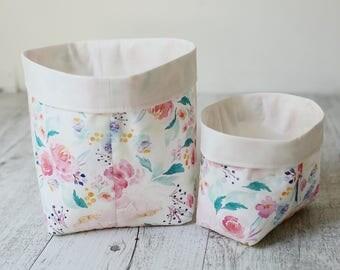 Storage basket. Watercolour floral. Nursery storage. Bathroom storage. Baby shower gift. Floral nursery decor. Toy storage bin.