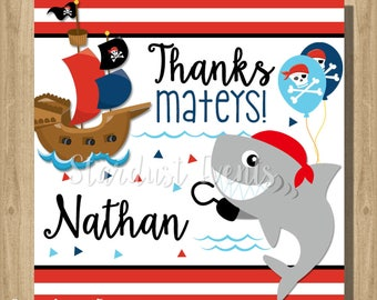 Pirate Shark Favor Tags, Pirate Favor Tags, Shark Thank You Tags, Sail Favor Tags