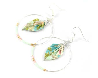 Japanese paper Origami Miyuki - turquoise leaf earrings