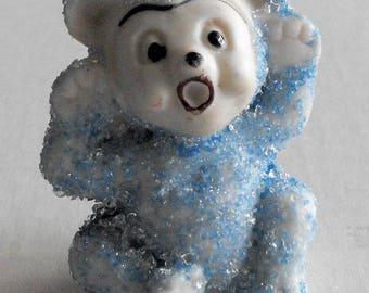 Adorable Tiny Blue Snowbaby Bear Figurine Vintage Japan