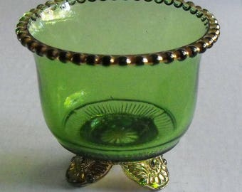 EAPG Green Colorado Pattern Toothpick or Match Holder Antique Pattern Glass