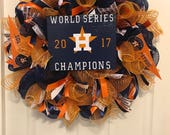 Astros Wreath, World Series Wreath, Sports Wreath, Baseball Wreaths,