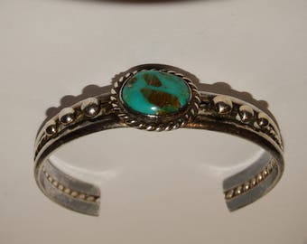 Navajo Sterling Silver Turquoise Cuff Bracelet.