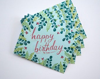 Happy Birthday flora greeting cards - hand painted set of five 5.5 x 4