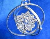 SOLAR Star 3-SPIN ※3D Sacred Geometry Pendant Silver Gold Jewelry *stellated Dodecahedron *3D Pentagram *Phi Harmony golden mean, magic gift