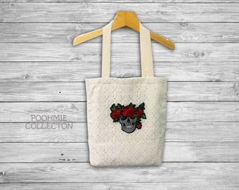 """White Lace Tote Bag with Skull and Roses, Fabrics Tote Bag, Vintage Bag -Size 14 1/2""""(W)x16 1/2""""(H)"""