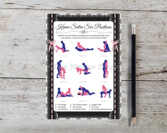 Guess The Sex Positions, UNIQUE Bachelorette Party Game, Wedding Shower, Kama Sutra, Naughty, Lace, Pink, Printable, Instant Download T60C
