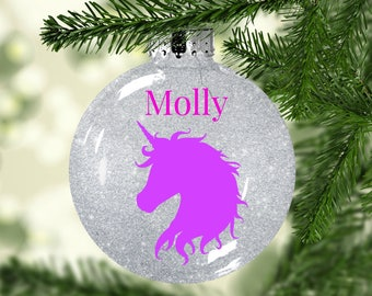 Unicorn Christmas Ornament | Personalized Christmas Ornament | Unicorn Ornament | Glitter Ornament |