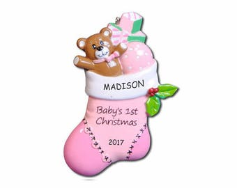 Personalized Bear Stocking Baby's First Christmas Ornament - Girl
