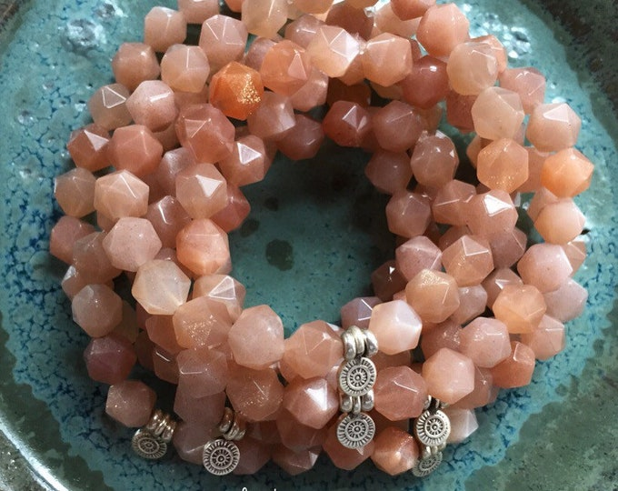 Shine Your Light | Spiritual Junkies | Sunstone Star Nuggets + Sterling Silver Sun | Stackable | Mala | Yoga + Meditation Bracelet