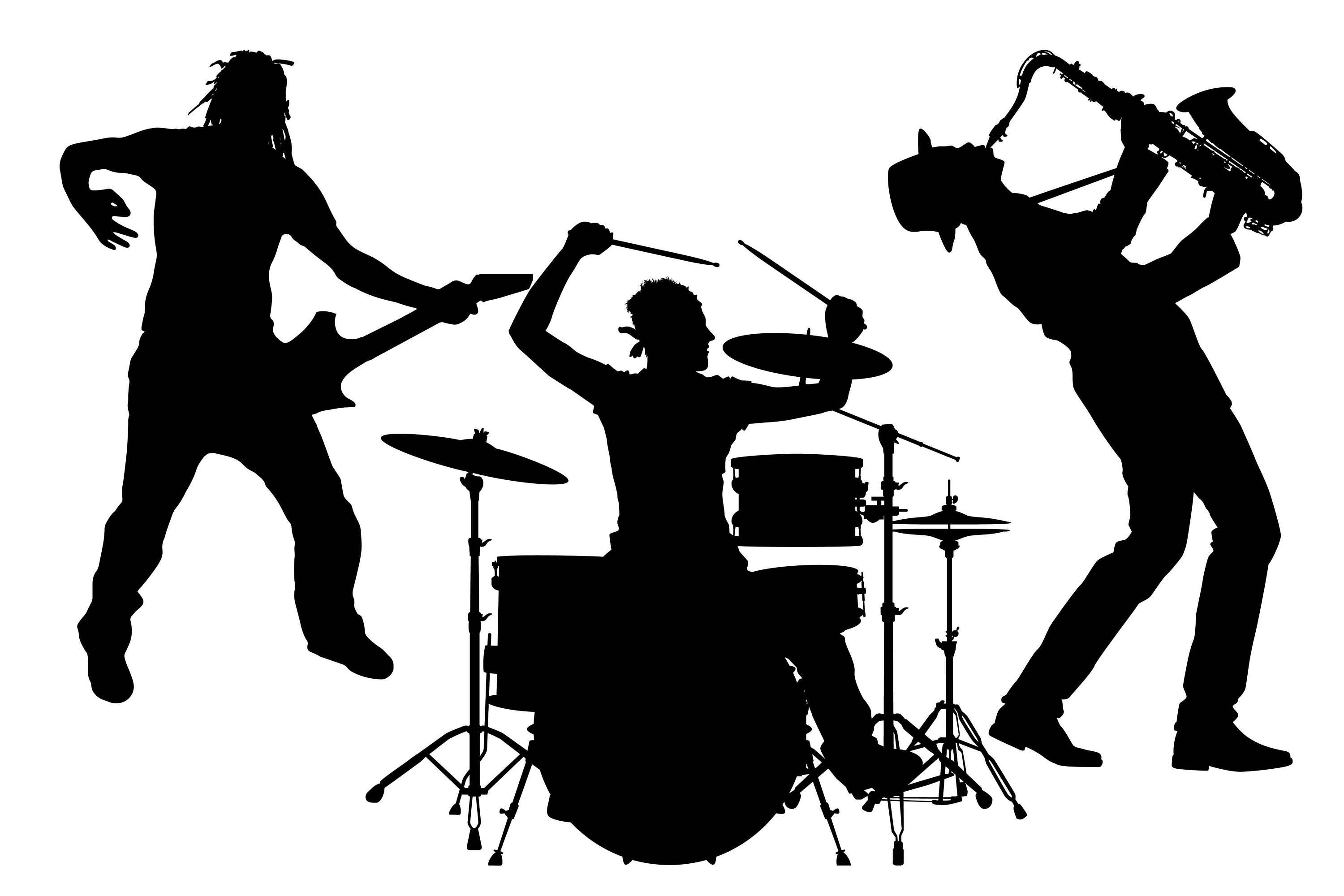 Music silhouette, rock band silhouette, musician ...