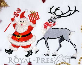 Christmas embroidery design Santa Claus and Reindeer - 2 sizes