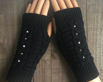 FREE US Shipping! Fingerless Gloves Black Arm Warmers Hand Warmers Cable Knit Mittens Women Gloves Acrylic Winter Gloves Rhinestone