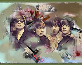 Beatles wall-painted unique digital PhotoArt Beatles item