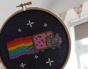 Nyan cat cross stitch