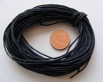 FIL Echeveau 9m environ cordon coton ciré 0,7mm NOIR DIY création bijoux loisirs