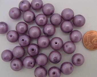 30 perles environ Rondes 10mm verre peint VIOLET PV-peint-65 DIY création bijoux