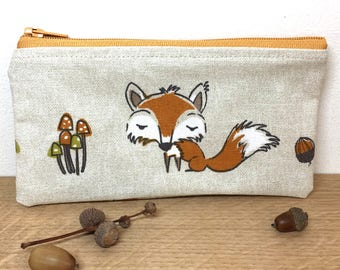 Fox zip purse, zip pouch, small change purse, zip purse, fox lover gift, gift for her, small zip purse,woodland animals