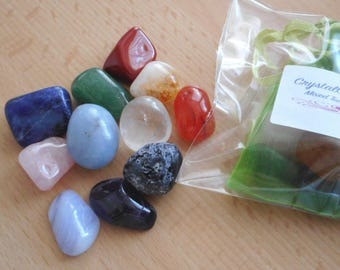 Mixed Tumbled Stones - 11 Healing Crystals/Tumbled Stones 15mm-20mm - Nice Selection