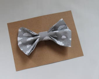 Grey fabric hair bow with little white clouds, fabric bow, girl hair accessory, girl bow, adult bow, cotton bow, fashion accessory