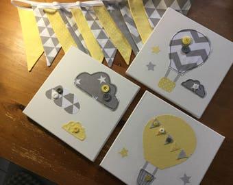 nursery canvases yellow grey chevron hot air balloon clouds lemon stars bunting cushion new baby girl wall art modern contemporary