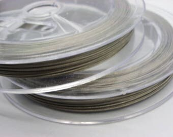 2 spools of 100 m 0.38 Tiger tail wire mm grey color