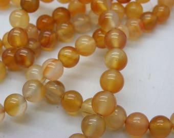 47 natural 8 mm orange carnelian beads