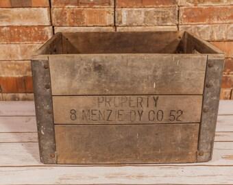 Vintage Menzie Dairy Milk Crate Wood Metal Milk Bottle Carrier Rustic Home Decor Man Cave Decor Distressed Farmhouse