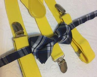 Baby suspenders, yellow baby suspenders, baby bow tie, suspenders, yellow suspenders set, blue bow tie, boy suspender set, rustic bow tie