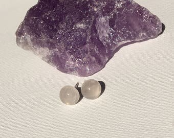 Dome Quartz Natural,Half Round Earring,Small Cabochon,8mm Natural Studs,Gemstone Post Studs,Light Gems Studs,Pale Earrings,Dome Gift 8mm Zen