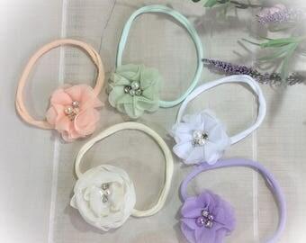Newborn Headband, Soft Baby Mini Headband, Baby Girl Headband, Cluster Headband