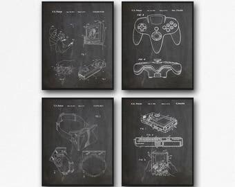 Video Game Poster Set of 4 Nintendo Poster Gameboy Poster Nintendo Wii Poster Oculus Rift Wall Art for Gamer Gaming Room (WB146)