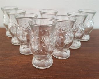 RESERVED - Seahorse Juice Glasses - Set of 8