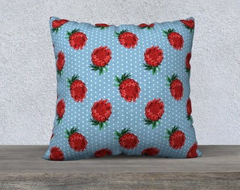 "22""x22"" - Large Square Throw Pillow - Beautiful Australian Native Floral Print - Gorgeous Protea and Polka Dots"
