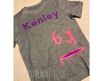Trampoline theme Birthday Party Shirt, customize the shirt age, jumper, and colors, Birthday, Jump party