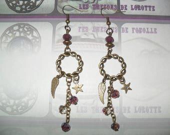 Bronze dangle earrings with Burgundy beads