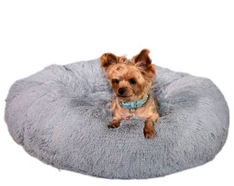 GORGEOUS GRAY SHAG:  Ultra Plush Soft Shag Cuddle Pet Bed, Dog Bed, Cat Bed, Pet Furniture for Dog or Cat, Small and Medium Pet Bed