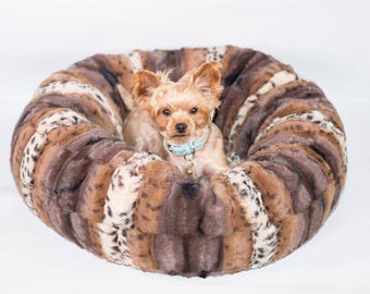 UPTOWN LEOPARD PLUSH:  Ultra Plush Soft Cuddle Pet Bed, Dog Bed, Cat Bed, Pet Furniture for Dog or Cat, Small and Medium Pet Bed