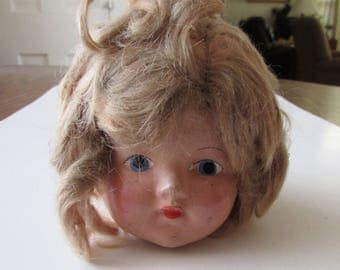 Vintage Doll Head Eerie Creepy Spooky  Composition Compo
