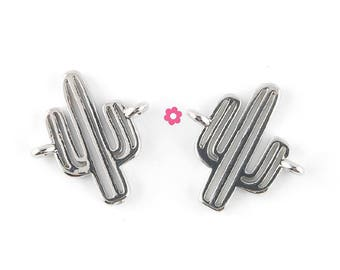 x 2 connectors silver 14x13mm cactus (63D)