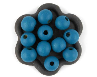 x 50 (42) 10mm teal wooden bead