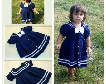 Crochet Sassy Lil Sailor Dress Pattern Size 2T DIGITAL DOWNLOAD ONLY