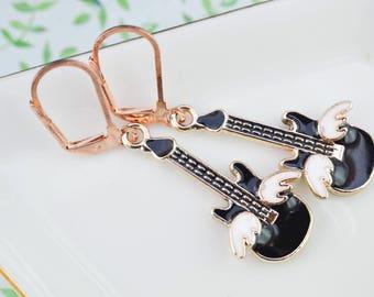 Guitar earrings - earrings rock - musician gift - musician gift - earrings ear music - rockabilly - funk