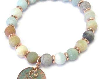 "Patina Monogram ""S"" Charm & Semi Precious Stone Beaded Stretch Bracelet/Multi 8mm"