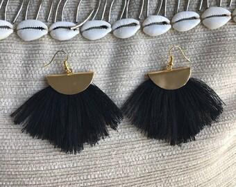 Black and gold tassle earrings