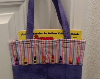Coloring Bags, Tote. Purple, pink glitter stripe