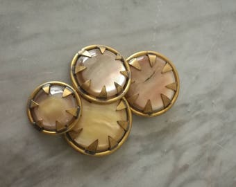 4 buttons mother of pearl and golden Metal, vintage, Years ' 50-' 60 made in Italy, shipping costs included