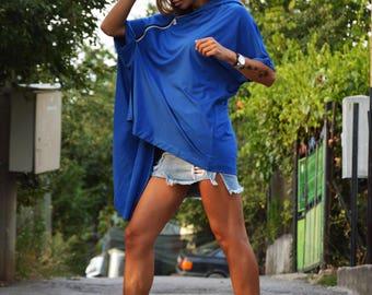 Plus Size Blue Hooded, Maxi Cotton Sweatshirt, Asymmetric Sweatshirt, Women Loose Top, Extravagant Oversize Zipper Tunic by SSDfashion